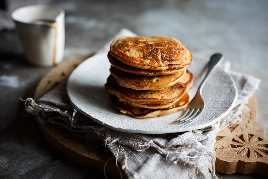 Image of a stack of sticky toffee pudding pancakes