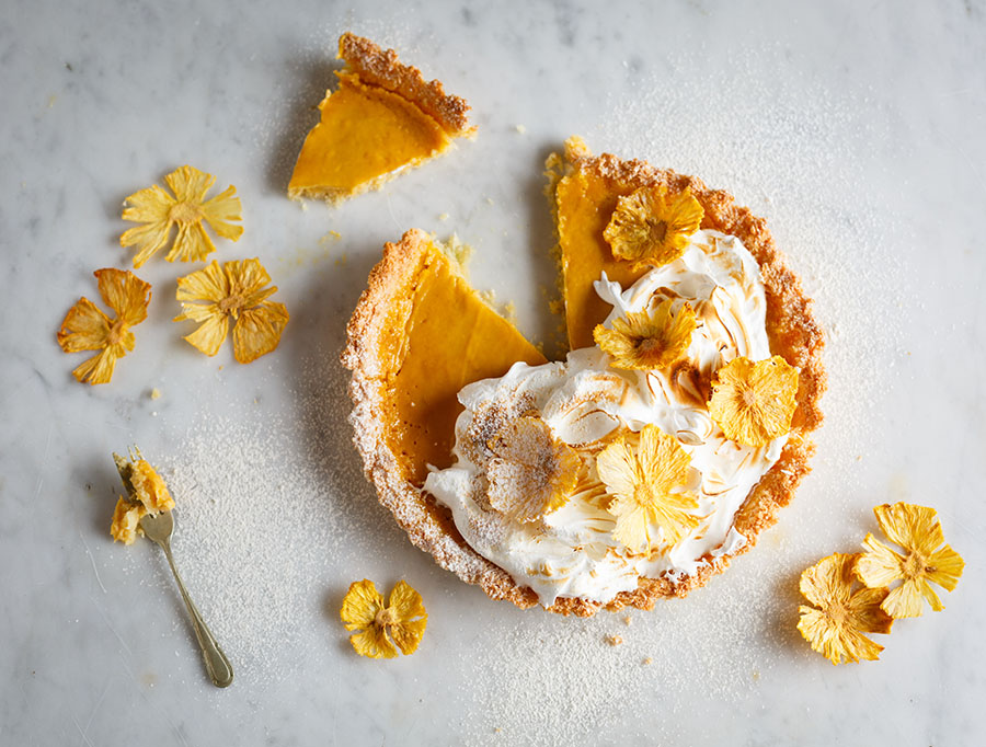 Pineapple Coconut Macaroon tart with Pineapple Blossoms