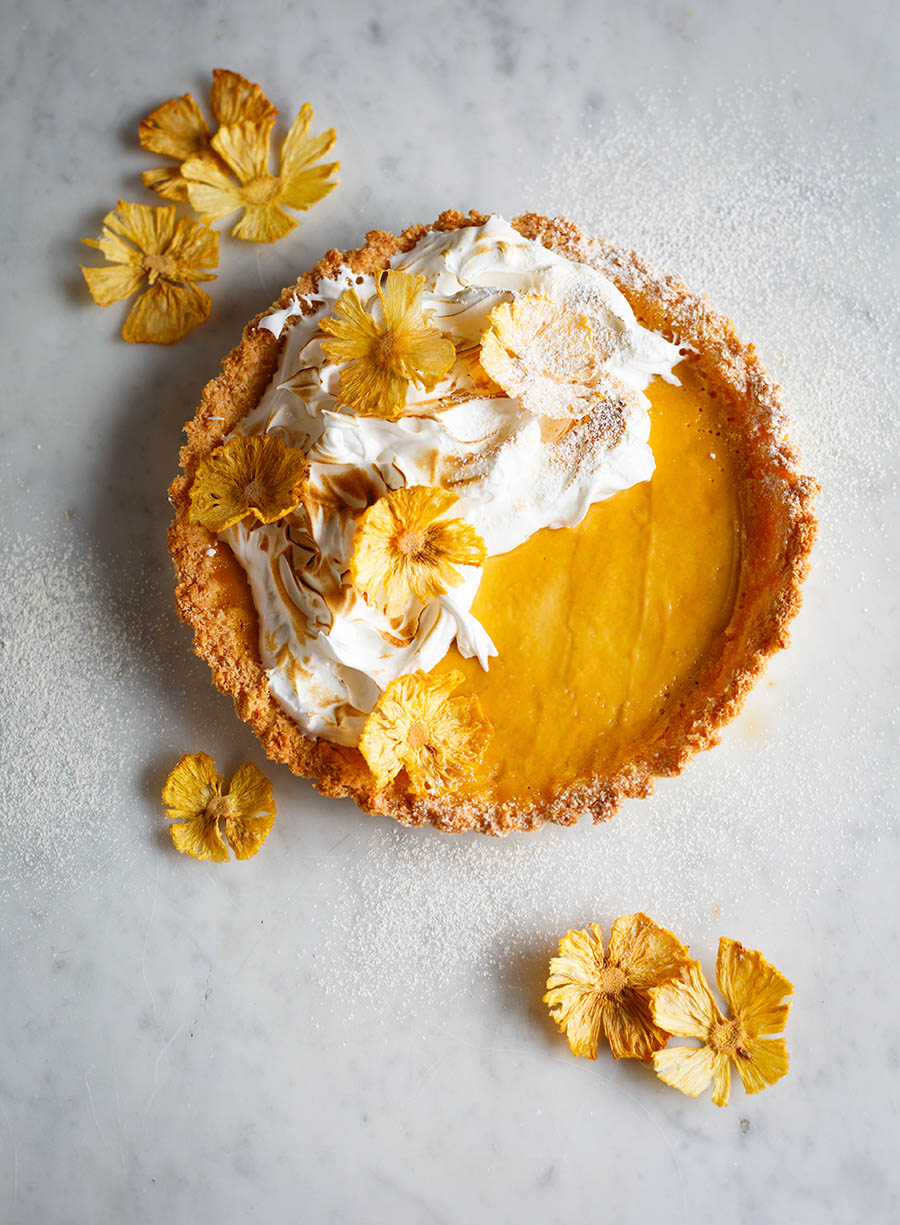 Pineapple Macaroon Tart with Pineapple Blossoms